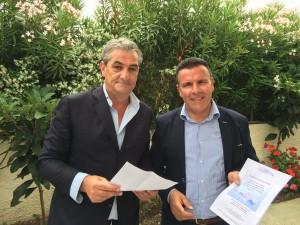 Il Sindaco Angelo Barretta ed il Presidente Baia Felix Gaetano Moretta